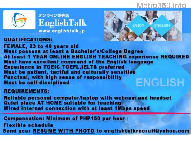 Home-based Online English Teacher to Japanese Students
